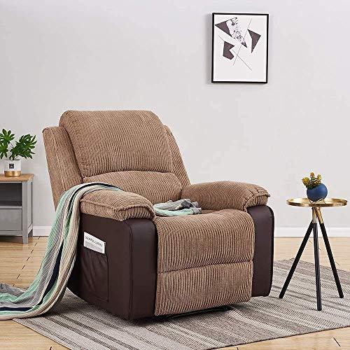 Storeinuk Sillón reclinable de tela de cordón Jumbo Loungh para el hogar, sofá reclinable para sala de estar, dormitorio, color marrón