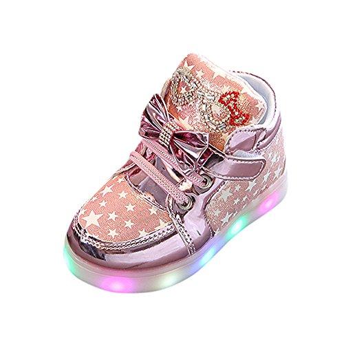 Lazzboy Kleinkind Baby Mode Turnschuh Stern Leuchtendes Kind Beiläufige Bunte Helle Schuhe Turnschuhe Sterne Leucht Casual Licht Mesh Sommer Sportschuhe(Rosa,28)
