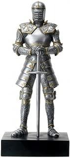 YesKela Silver Colored Italian Knight Design Standing Statue in Full Armor