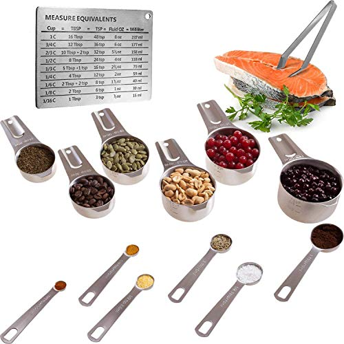 Internet's Best Measuring Cups and Spoons Combo Pack | Stainless Steel | Stackable Kitchen Utensils for Cooking Baking Dry and Liquid Ingredients