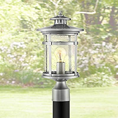 """Callaway Mission Post Light Fixture LED Bronze 15 1/2"""" Seeded Glass for Deck Garden Yard - Franklin Iron Works"""