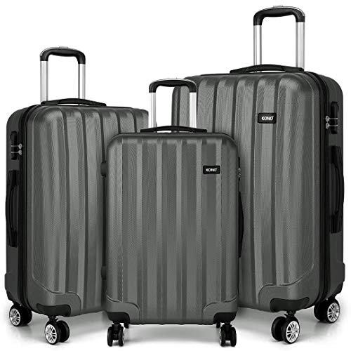 Kono 3 Pcs Luggage Set Hard Shell Suitcase Light Weight ABS 4 Spinner Wheels Business Trip Trolley Case 20/24/28 Inch (Grey Set)
