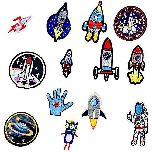 VICSPORT 14 Stück bestickte Aufnäher, Dekor, Weltraum, Planet, Astronaut, zum Aufbügeln, für Kinder, Kleidung, Jeans, Jacken, Hüte, Taschen, Kleidung