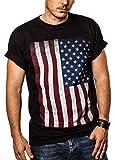 MAKAYA Camiseta con Bandera de Estados Unidos/Americana Negra M