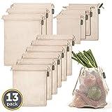 Cottify Pack de 13 bolsas Reutilizables para alimentos, Máxima Calidad, Bolsas de Algodón, Pack de 4 tamaños, Tara, Doble Costura, Bolsa Para Verduras, Lavables, Orgánicas, Naturales