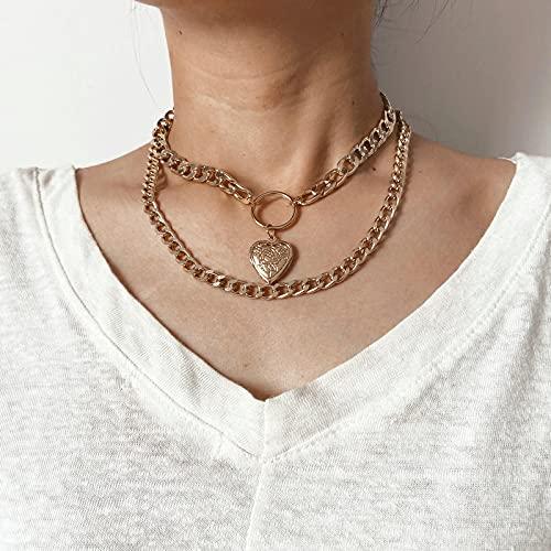Collar Collar con Colgante De Moneda De Retrato Tallado En Oro De Moda para Mujer, Collar De Gargantilla De Cadena Multicapa De Color Plateado Punk, Joyería 43668