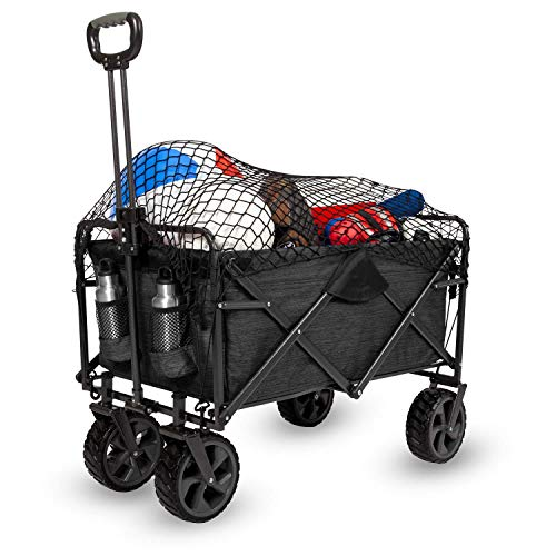 unknown folding wagons MacSports XL Heavy Duty Collapsible Outdoor Folding Wagon Camping Gear Grocery Cart Portable Lightweight Utility Cart Adjustable Rolling Cart All Terrain Sports Wagon Beach Wagon with Cargo Net