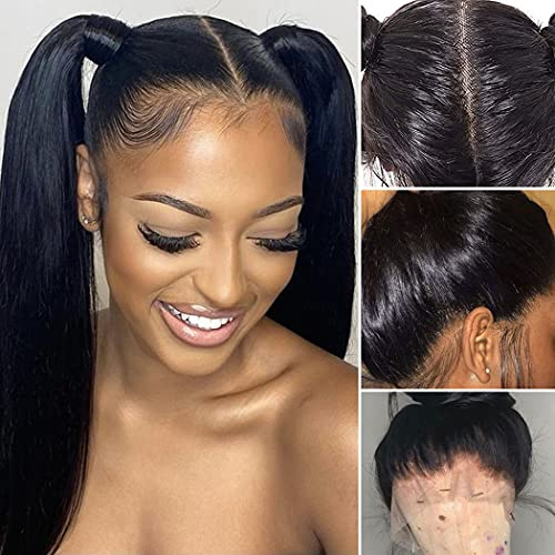Full Lace Human Hair Wigs Ms Sunlight Full Lace Straight Brazilian Virgin Wigs With Baby Hair Pre-Plucked Natural Color 180% Density 12A Human Hair Wigs For Black Women(18 Inch)