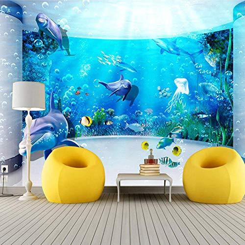PatTheHook Wandbild,Custom 3D Großes Wandbild Hd Aquarium Delphin Ozean Unterwasserwelt Wallpaper Moderne Fernseher Sofa Hintergrund Wohnzimmer Home Decor