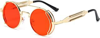 UKKD - Gafas De Sol Moda Redonda Steampunk Gafas De Sol Hombres Mujeres Vintage Gótico Metal Marco Gafas De Sol para Hombre Uv400-Gold Red