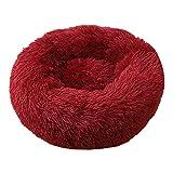 Donut Dog Calming Bed Canasta de Felpa Suave para MascotasInvierno Cálido Camas para Gatos Nido Saco de Dormir Cojín Sofá para Perros pequeños Grandes XS-40cm Winered