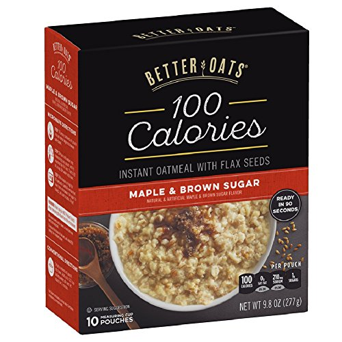 Better Oats 100 Calories Maple & Brown Sugar Instant Oatmeal with Flax...