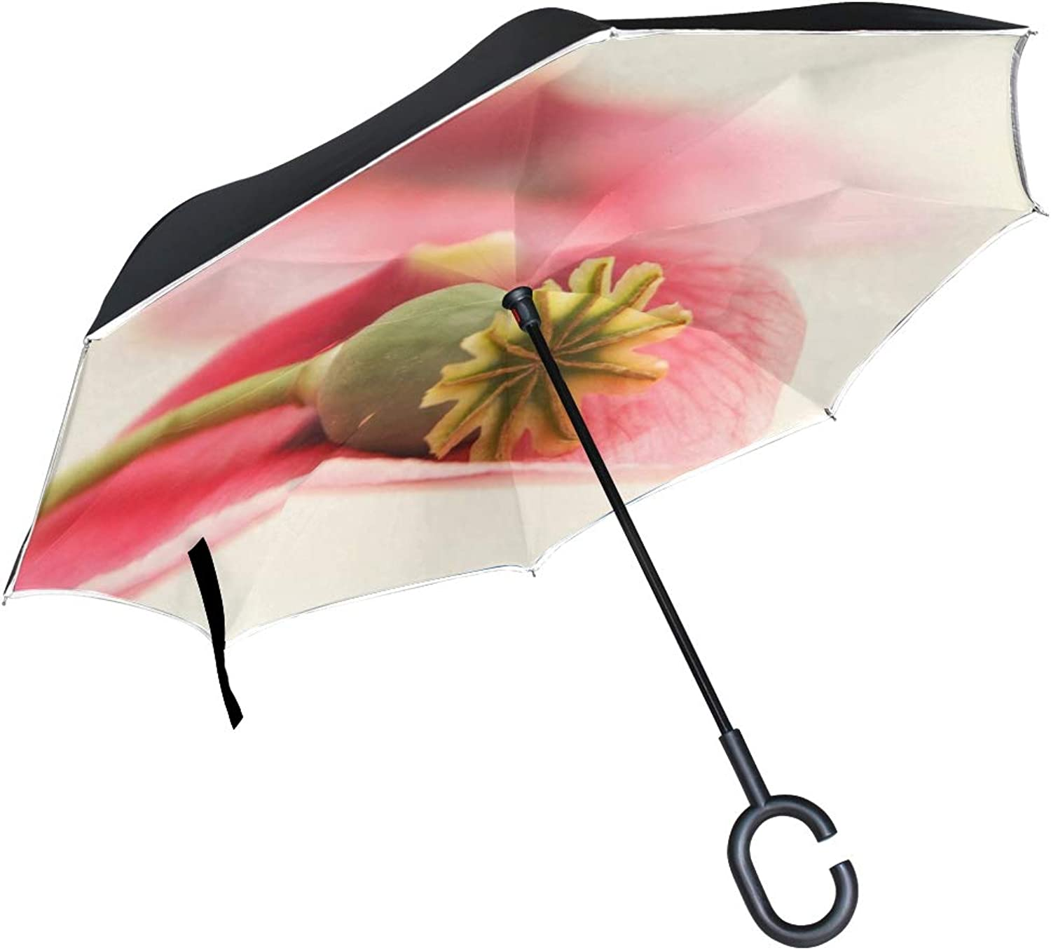 Double Layer Ingreened Poppy Petal Flower Spring Flora Nature Field Umbrellas Reverse Folding Umbrella Windproof Uv Predection Big Straight Umbrella for Car Rain Outdoor with CShaped Handle