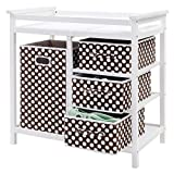 Costzon Baby Changing Table, Infant Diaper Changing Table Organization, Diaper Storage Nursery Station with Hamper and 3 Baskets (White+Brown)