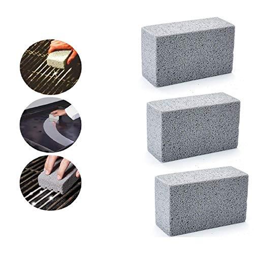 BestTas 1/3 Stücke Grill Griddle Cleaning Brick Block, Magic Grill Stone Grime Grease Remover, Barbecue Grill Brush Scraper Grillpinsel Grillreiniger Reinigungsstein BBQ Grill Zubehör (3)