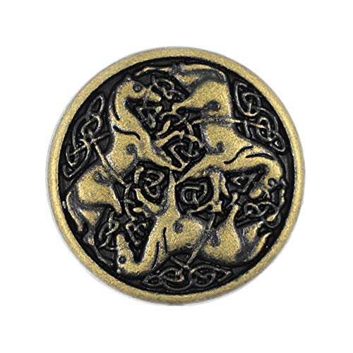 Bezelry 12 Pieces Celtic Horses Metal Shank Buttons. 18mm (11/16) (Antique Brass)
