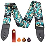 Soft polyester fiber guitar strap, soft leather ends, adjustable length, suitable for acoustic/bass/electric/classical guitar accessories