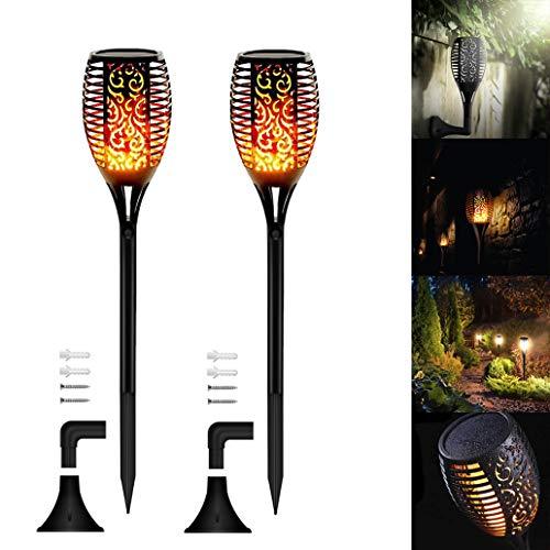 96 Leds Solar Flammenlicht, Swonuk 2 Stück Solarleuchte Garten IP65 Wasserdicht Solarlampe Gartenfackeln mit Realistischen Flammen Automatische EIN/Aus Außen Warmlicht