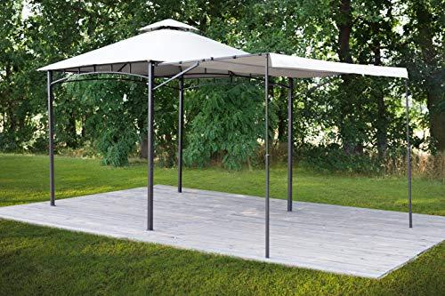 greemotion Pavillon Nashville, Gartenzelt mit Vordach, großer Gartenpavillon in Anthrazit / Beige, Partyzelt aus Stahl mit Dach, Pavillon 3x3 m