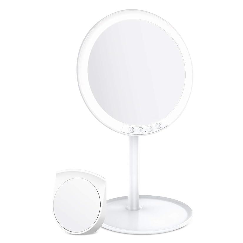汚れた食器棚八百屋BESTOPE 化粧鏡 卓上ミラー 鏡 化粧ミラー 女優ミラー 充電式 led付き 7倍拡大鏡付き 寒暖色調節可能 明るさ調節可能 120°回転 ホワイト