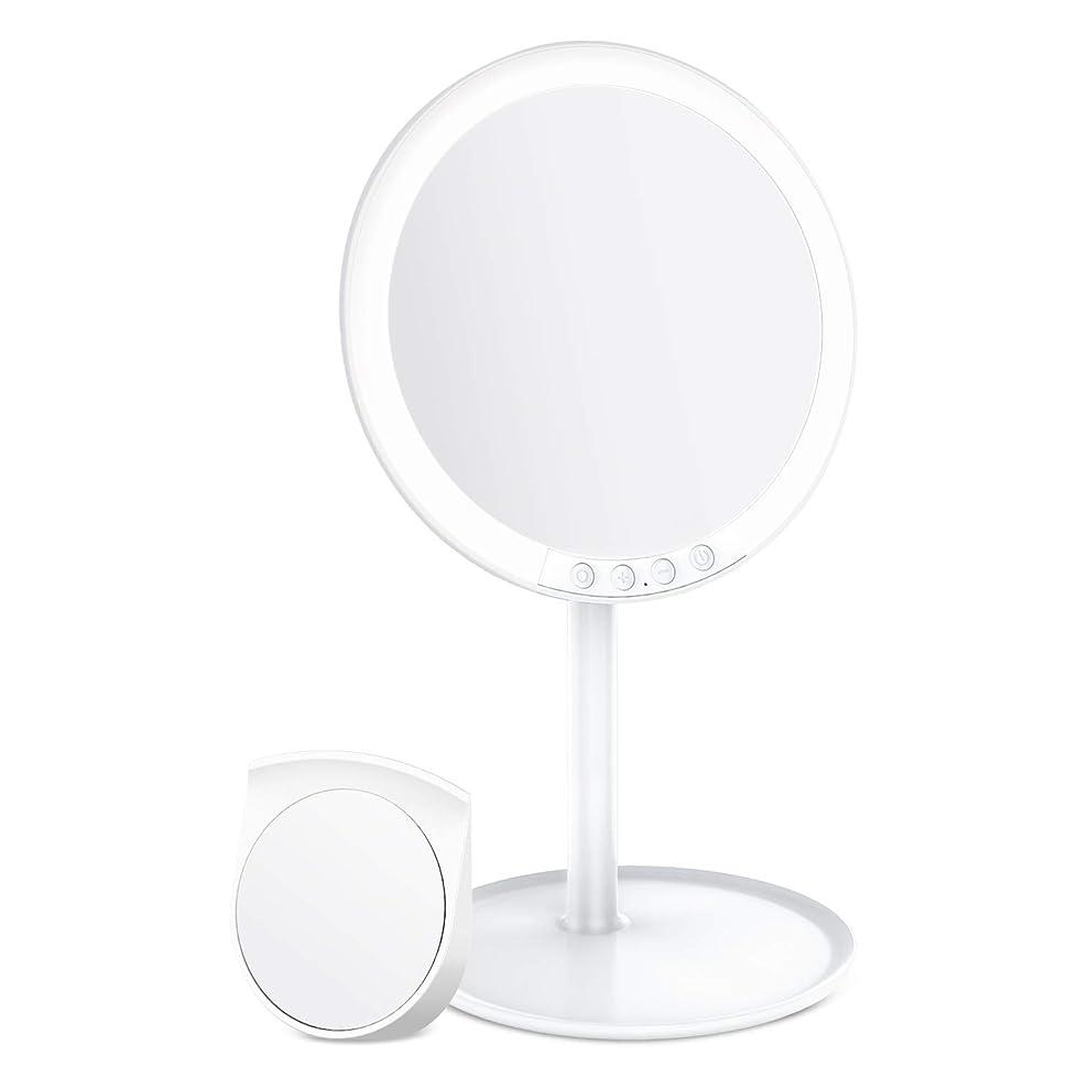 孤児今すぐにBESTOPE 化粧鏡 卓上ミラー 鏡 化粧ミラー 女優ミラー 充電式 led付き 10倍拡大鏡付き 寒暖色調節可能 明るさ調節可能 120°回転 ホワイト