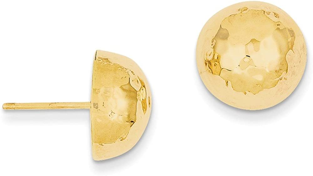 14k Hammered Half Ball Post Earrings