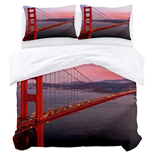 Olivefox Modern Reversible Bedding Duvet Cover Set with 3pcs:1 x Duvet Cover 2 x Pillowcases Red Bridge in The Sunset California King Easy Care Comforter Cover Durable Bedding Set