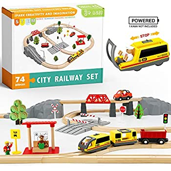 74 Pcs Wooden Train Set with Battery Operated Train & Wooden Tracks -Fits Thomas Brio Chuggington Melissa and Other Major Brands- Kids Toys for 3+ Years Old Boys & Girls