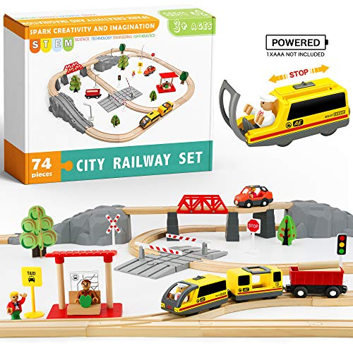 Tiny Land 74 Pcs Wooden-Train-Set-Toys-Wooden-Tracks & Battery Locomotive &Station - Fits Brio, Chuggington, Imaginarium-Gift Packed City Railway Sets for Kids Age 3 and Up