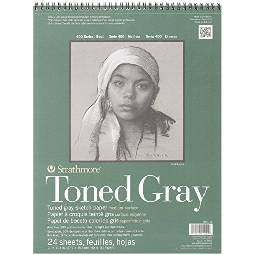 Strathmore Toned Gray Papel de boceto colorido gris, superficie media, 11 x 14 pollici - 80Lb, 24 fogli