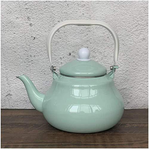 LLDKA ketel groen geëmailleerde theepot Vintage Coffee waterpan voor inductiekookplaten of bovenste fornuis, gasfornuis, oven, 1,5 l/2 l