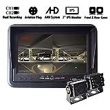 Auto AHD Rückfahrkamera Kit Rückfahrsystem 7 Zoll DVR IPS-Monitor mit Vorder- und Rückkamera Dual-Aufnahme für LKW Anhänger Caravan Wohnmobil, Monitor 4-poliger Luftfahrtstecker, 12V-24V, Nachtsicht