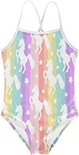 Freewander Toddle Girls One-Piece Swimwear Colorful Bathing Suit Printed Suit Cute Animals Size 3Y-8Y