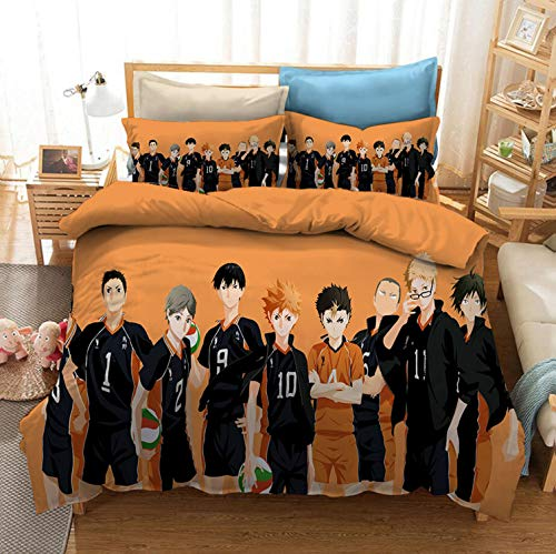 CHAIRAY Haikyuu Bedding Sheet Anime Haikyu Volleyball Team Queen Full Twin 3PCS Quilt Cover Pillowcases Set