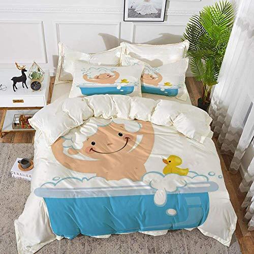 ropa de cama - Juego de funda nórdica, guardería, bebé con carita sonriente con baño de burbujas con pato de goma para niños, arte temático, Wh, juego de funda nórdica de microfibra hipoalergé