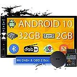 Tristan Auron BT2D7026A Android 10.0 Autoradio + OBD 2 und DAB+ Box I 7'' Touchscreen ausfahrbar I GPS Navi 32GB Bluetooth Freisprecheinrichtung I USB SD DAB Plus 2 DIN