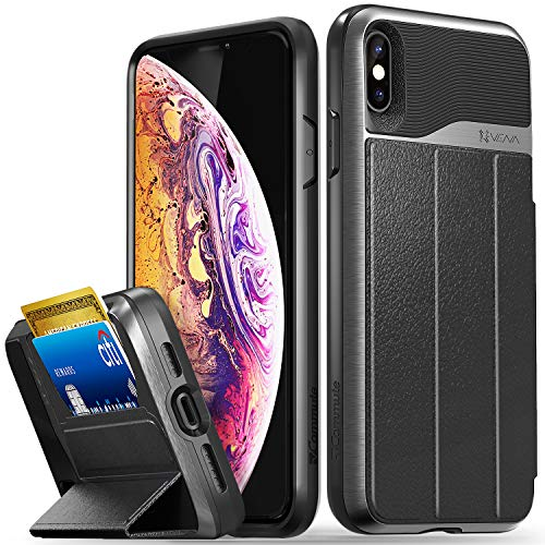 Vena iPhone Xs Max Wallet Case, vCommute (Military Grade Drop Protection) Flip Leather Cover Card Slot Holder with Kickstand Designed for Apple iPhone Xs Max - Space Gray