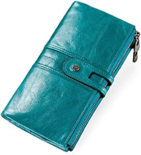 CONTACTS Genuine Leather Women Wallets, Multi-Function Slim Bifold Zipper Clutch Purse with RFID