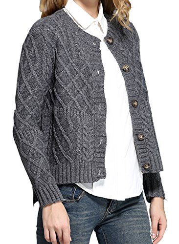 v28 Women Vintage Cotton Cable Knitted Button Long Sleeves Coat Sweater Cardigan (Small, Neutral Grey)