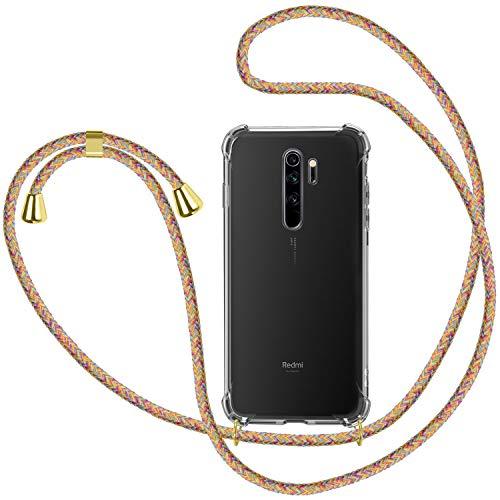 Funda con Cuerda para Xiaomi Redmi Note 8T, Carcasa Transparente TPU Suave Silicona Case con Correa Colgante Ajustable Collar Correa de Cuello Cadena Cordón para Xiaomi Redmi Note 8T - Multico