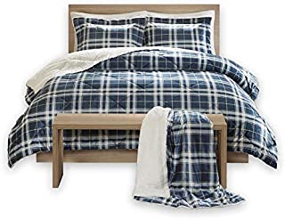 Comfort Spaces Aaron Sherpa Set Combo-4 Piece-Checker Plaid Pattern-Ultra Softy, Fluffy, Warm-Includes 1 Comforter, 2 Shams, 1 Throw, King, Blue