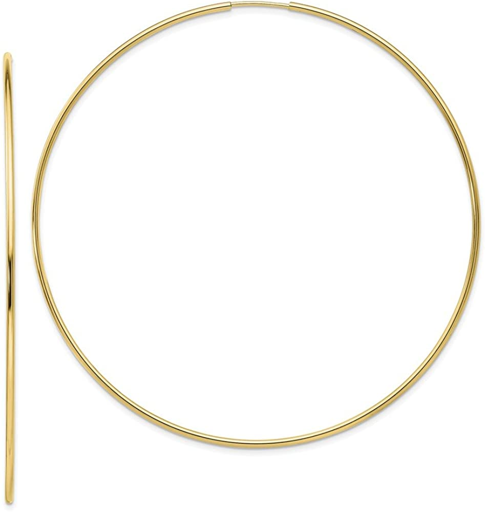 Solid 10k Yellow Gold Polished Endless Tube Hoop Earrings (1.2mm x 77mm)