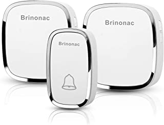 Brinonac BDB001W Wireless Doorbell, Waterproof Door Bells Chime Kit with LED Indicator, 1 Push Button and 2 Plug-in Receiver (White)