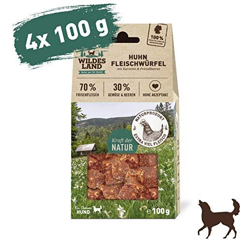 Wildes Land | Fleischwürfel Huhn | 400 g | Kausnack für Hunde | 70% Frischfleisch | 30% Gemüse & Beeren | Natürlich belohnen | getreidefrei | Hohe Akzeptanz | Frisches, schonend getrocknetes Fleisch
