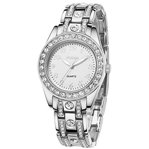 YOSIMI Damenuhr mit Analoganzeige und Armband Silber Luxuriöse Art Arabische Ziffern Runde Form mit Bling Kristallen und Leuchtenden Händen Wasserdicht