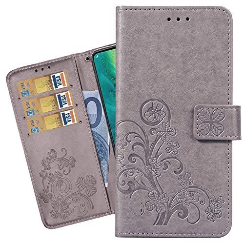 Ougger hoes voor Vivo V15 beschermhoes lederen portefeuille gelukkige bladeren tas staan zacht silicone TPU cover schaal klaphoes mobiele telefoon Vivo V15 met kaartsleuf, Klassiek grijs.