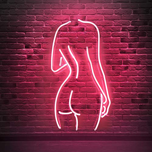 Naked Lady Real Glass Neon Signs, Neon Light Sign Neon Lamp, Wall Sign Art Decorative Signs Lights, Neon Words for Home Bedroom Room Decor Bar Beer Office for Party Holiday Wedding Decoration Sign