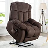 CANMOV Power Lift Recliner Chair for Elderly- Heavy Duty and Safety Motion Reclining Mechanism-Antiskid Fabric Sofa Living Room Chair with Overstuffed Design, Chocolate