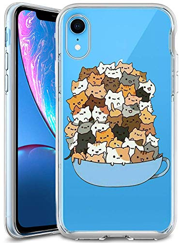 iPhone XR Case,Slim Fit Shell Soft Thin Mobile Phone Clear Case with Non Slip Matte Surface Protective Clear case for iPhone XR 2018 6.1inch-Cats