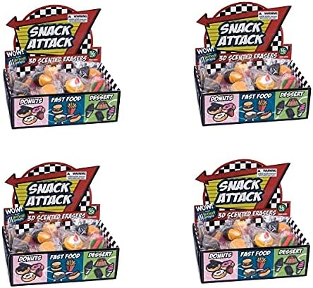 Raymond Geddes Snack Attack 3D Limited time sale Pack Eraser Display Daily bargain sale 36 Scented